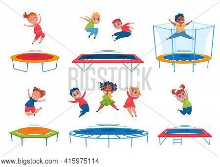 Kids Jumping On Trampoline. Happy Boys, Girls Bouncing And Having Fun. Energetic Children Jump Toget