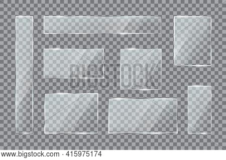 Glass Plates. Transparent Window Texture With Gloss, Plastic Or Acrylic Rectangular Panels, Buttons