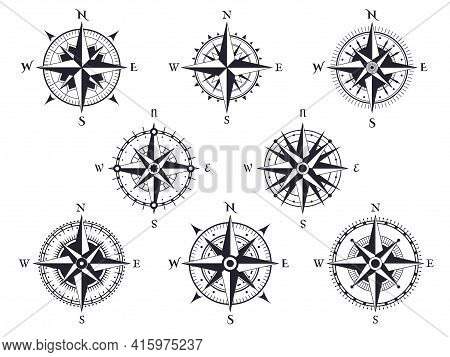 Wind Rose. Vintage Compass With North, South And West, East Pointers. Cartography Marine Retro Map S