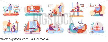 People Relaxing At Home. Man And Woman Watering Plants, Cooking, Reading Books, Playing With Pets, P