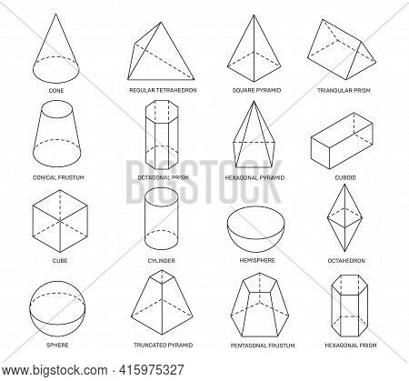 Line Isometric Shapes. Simple Geometric Forms For School Learning And Logo Design. Cylinder, Prism A