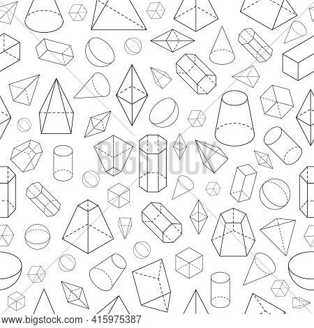 Isometric 3d Shapes Seamless Pattern. Geometric Math Wireframe Objects. Pyramid, Prism And Sphere, C