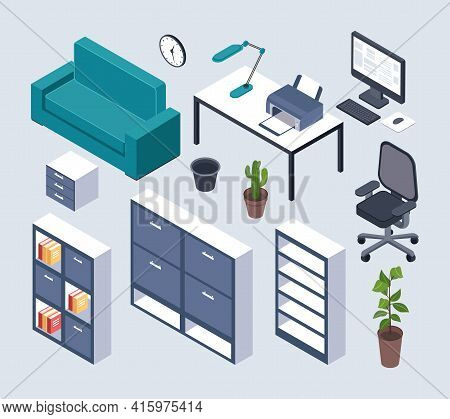 Isometric Furniture. Office Desk With Monitor, Computer Mouse And Lamp, Printer And Clock, Armchair.