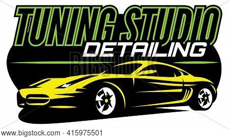 Supercar. Vector Color Illustration. Editable Template For Business Cards. Black Background.