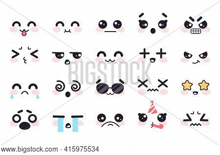 Kawaii Cute Faces. Japanese Manga Emotions Fear, Crying And Anger, Apathy And Death, Joy And Surpris