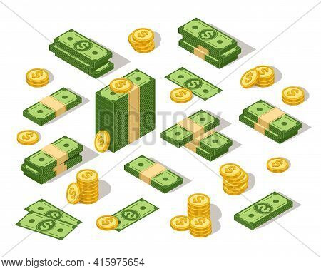 Isometric Dollars. 3d Money Cash, Cartoon Green Paper Banknote And Golden Coins. American Bucks Trea