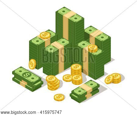 Big Dollars Stack. Money Cash Pile And Coins, American Green Bucks Stack. Usd Currency. Wealth, Lott
