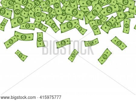 Money Rain. Falling Dollar Banknotes Seamless Vector Border, Cartoon Cash Confetti. Banking, Investm
