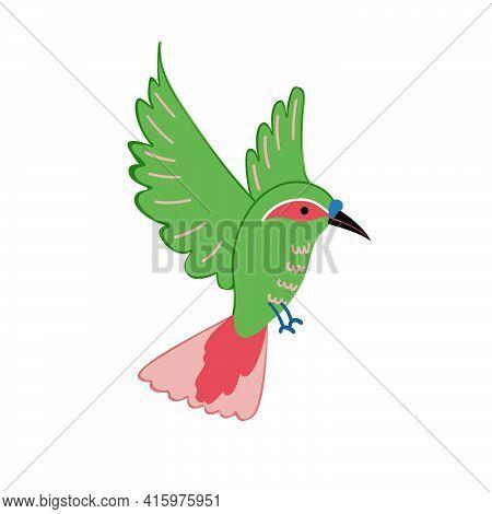 Flat Vector Icon Of Green Flying Hummingbird