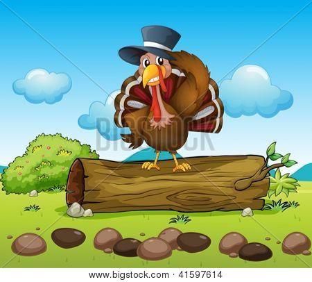 Illustration of a turkey above a log