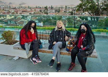 Antalya, Turkey - March 19, 2021: Antalya Covid Restrictions Implies Wearing Of Masks Is Mandatory A
