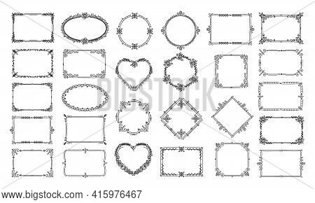 Decorative Frames. Elegant Floral Heart, Circle Ornaments. Calligraphic Ornate Certificate, Book Dec