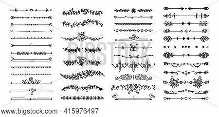 Decorative Dividers. Heart, Line, Swirl, Arrow Elements For Decoration. Calligraphic Flourish Orname