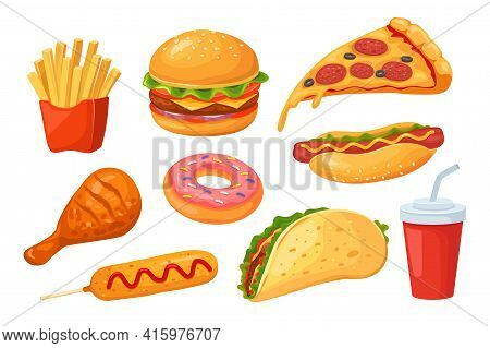 Fast Food. Pizza And Hamburger, Cola And Hot Dog, Chicken And Donut, Sandwich And Corn Dog. Isolated