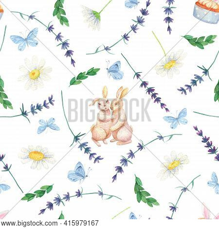 Bunny Daisy Seamless Pattern. Watercolor Butterfly Lavender Background