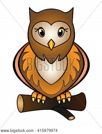 Owl - Full Color Stock Illustration. Little Cute Owl Sits On A Branch - A Picture For Children. Brow