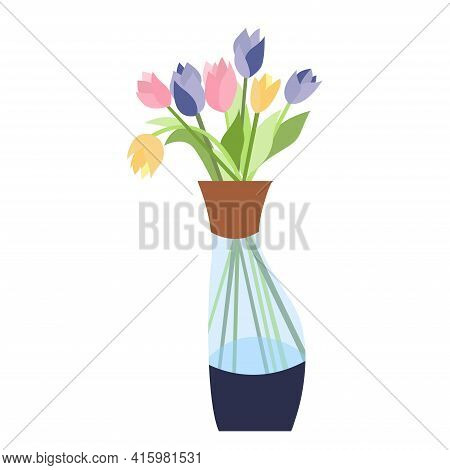 Beautiful Vase With Colorful Tulips. Floral Vase. Blooming Spring Flowers. Vector Illustration Isola