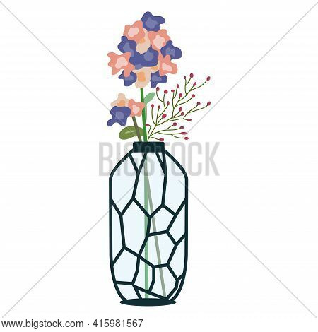 Colorful Flowers In Glass Vase. Floral Vase. Blooming Spring Flowers. Small Red Flowers. Illustratio