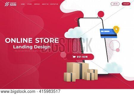 Online Store Website Landing Page Design Vector