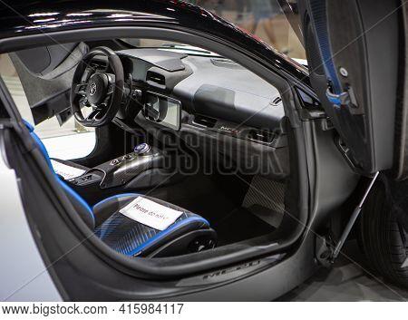 Bangkok, Thailand - April 4, 2021: Interior Of Supercar Maserati Mc20 Exhibited In Bangkok Internati