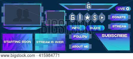 Overlay The Game On A Dark Background. Modern Vector Banner Design. Template Design. Buttons, Frames