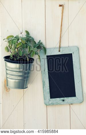 Empy Blackboard And Pot With Plant On Wooden Surface. A Small Blackboard With No Writing, A Jar Cont