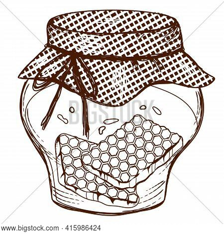 Jar Of Honey With Honeycombs, Engraving Vector Illustration Isolated On White Background. Honey Imag