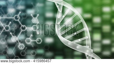 Dna structure and chemical structures against mosaic squares on green background. medical research technology concept