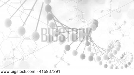 Digitally generated image of dna structure and chemical structures against white background. medical research and technology concept