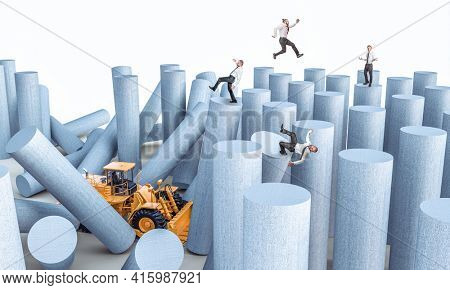 bulldozer destroys towers with business people on them. concept of instability and risk in the world of work.