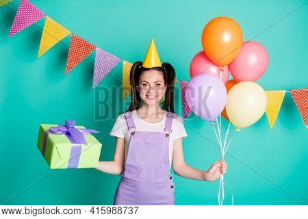 Photo Portrait Of Happy Girl Wearing Headwear Overall Keeping Colorful Air Balloons Gift Box Smiling