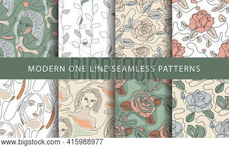 One Line Seamless Modern Pattern With Girl Face And Rose Flower.. Minimalist Minimal Young Woman Sim