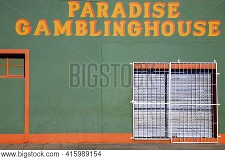 Luderitz, Namibia, December 26: Green House With Yellow Letters. Detail Of Architecture In The City
