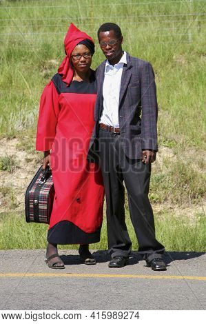 Coffee Bay, South Africa, January 14: Young South African Couple Staying By The Road And Posing To T