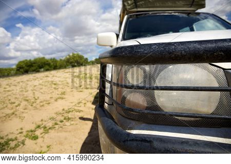 Front View Of 4x4 Car In Namibia