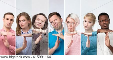 Collage Of Portraits Millenial Young Men And Women Showing Time Out Hands Gesture.