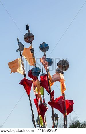 Fishing Net Buoys With Flags.  Indicate The Location Of The Fishing Net
