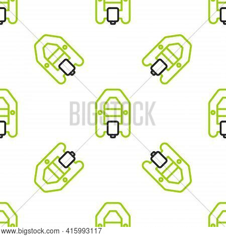 Line Rafting Boat Icon Isolated Seamless Pattern On White Background. Inflatable Boat With Paddles.