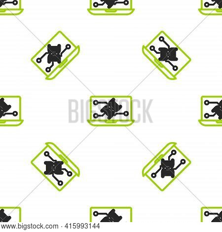 Line Genetic Engineering Modification On Laptop Icon Isolated Seamless Pattern On White Background.