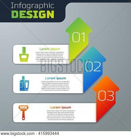 Set Nail Polish Bottle, Cream Or Lotion Cosmetic Tube And Shaving Razor. Business Infographic Templa