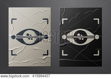White Eye Scan Icon Isolated On Crumpled Paper Background. Scanning Eye. Security Check Symbol. Cybe
