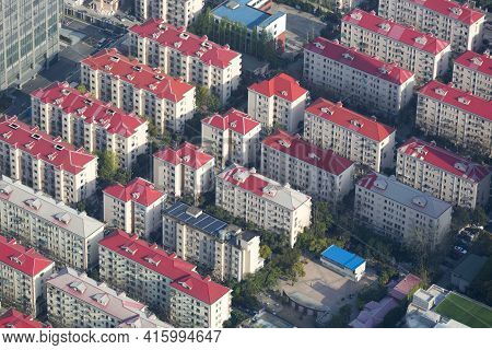 Aerial View Of Shanghai With View On The Residential Area During The Day, With A Tilt Shift Effect.
