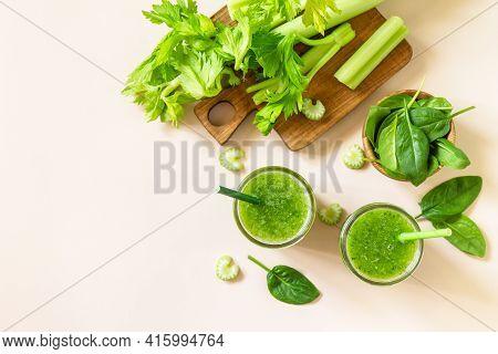 Vegan Smoothie Recipe. Healthy Diet And Nutrition, Vegan And Alkaline Drink. Green Fresh Smoothie Wi