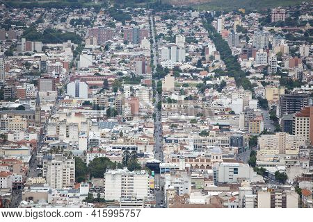 Salta, Argentina, Dec 18: Aerial View Of The City Of Salta Taken From The Top Cerro San Bernardo. No