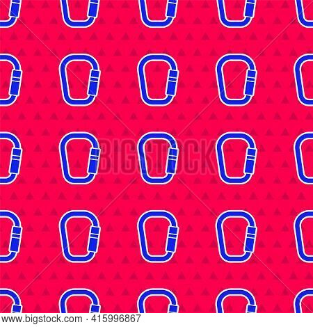 Blue Carabiner Icon Isolated Seamless Pattern On Red Background. Extreme Sport. Sport Equipment. Vec