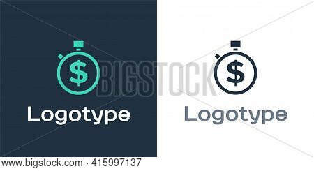 Logotype Time Is Money Icon Isolated On White Background. Money Is Time. Effective Time Management.