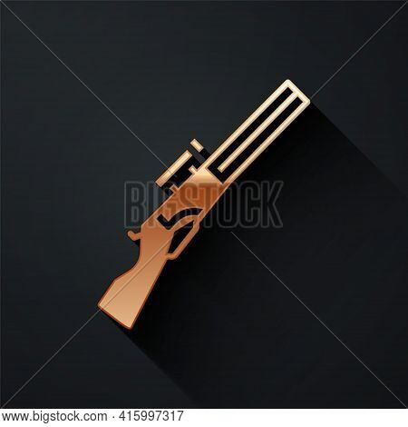 Gold Hunting Gun Icon Isolated On Black Background. Hunting Shotgun. Long Shadow Style. Vector