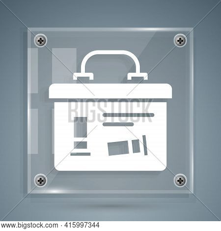 White Military Ammunition Box With Some Ammo Bullets Icon Isolated On Grey Background. Square Glass