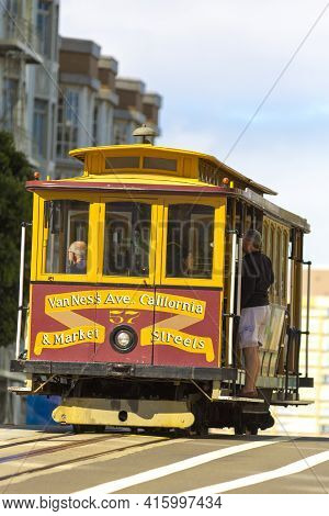 San Francisco, Usa - 26/08/2012: People On A Vintage Trolleys In San Francisco, The Historic Streetc