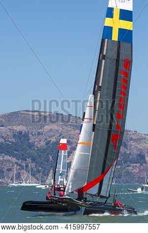 San Francisco, Ca, August 26: Sweden Catamaran Team Sailing During The Final Of The America's Cup Wo
